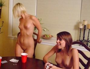 Drunk girls playing strip poker
